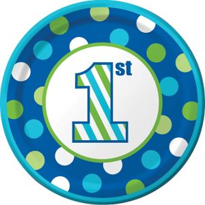 Blue Dots & Stripes 1st Birthday Lunch Plates 8ct