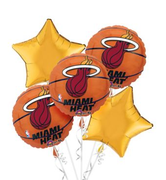 Miami Heat Balloon Bouquet 5pc - Basketball