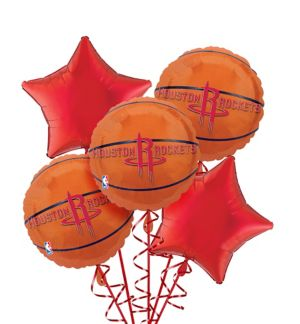 Houston Rockets Balloon Bouquet 5pc - Basketball