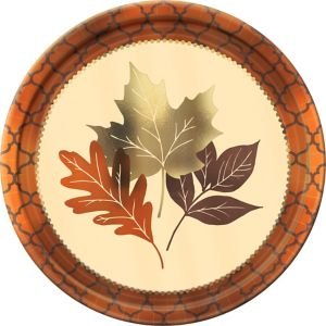 Metallic Copper Leaves Dinner Plates 8ct
