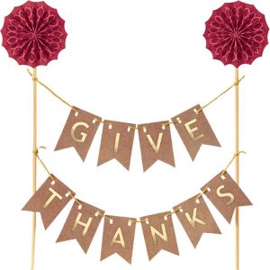 Give Thanks Pennant Banner Cake Topper