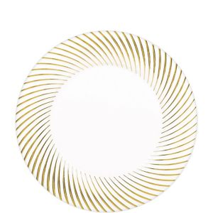 White Gold Swirl Border Premium Plastic Lunch Plates 20ct
