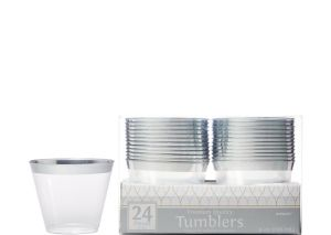 CLEAR Silver Trimmed Premium Plastic Cups 24ct