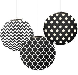 Black Patterned Paper Lanterns 3ct
