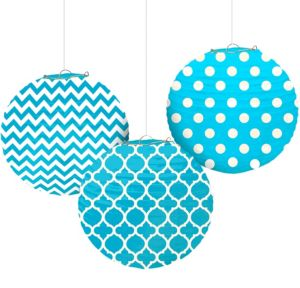 Caribbean Blue Patterned Paper Lanterns 3ct