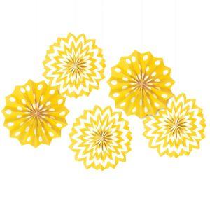 Sunshine Yellow Polka Dot & Chevron Mini Paper Fan Decorations 5ct