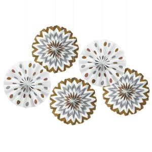 Metallic Polka Dot & Chevron Mini Fan Decorations 5ct