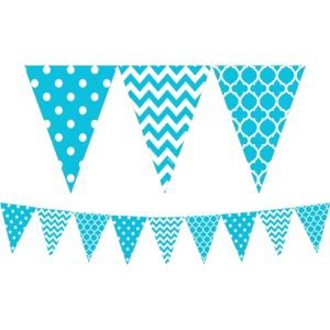 Caribbean Blue Patterned Pennant Banner