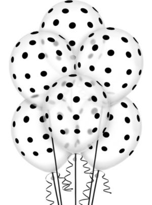 Transparent & Black Polka Dot Balloons 20ct
