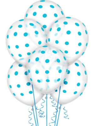 Transparent & Caribbean Blue Polka Dot Balloons 20ct