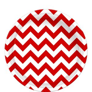 Red Chevron Paper Lunch Plates 8ct