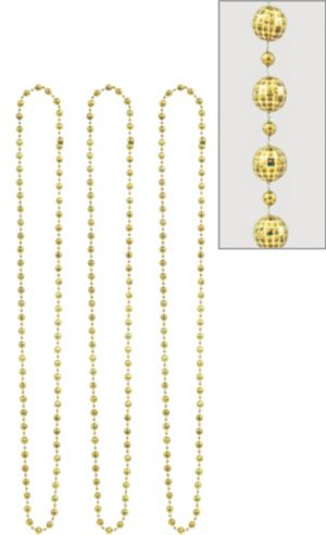 Gold Disco Bead Necklaces 3ct