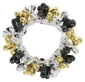 Black, Gold & Silver Bead Bracelet
