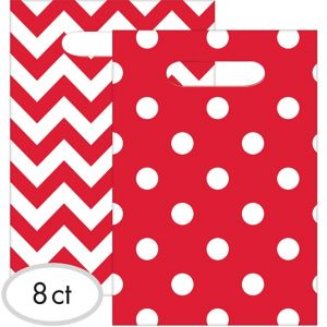 Red Polka Dot & Chevron Favor Bags 8ct