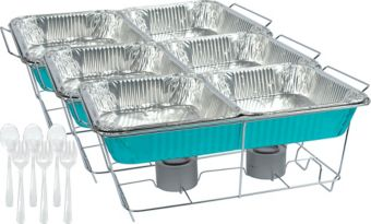 Caribbean Blue Chafing Dish Buffet Set 24pc