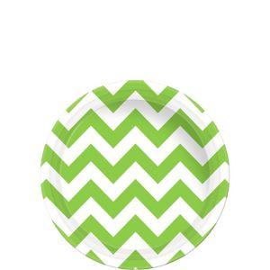 Kiwi Green Chevron Paper Dessert Plates 8ct