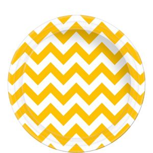 Sunshine Yellow Chevron Paper Lunch Plates 8ct