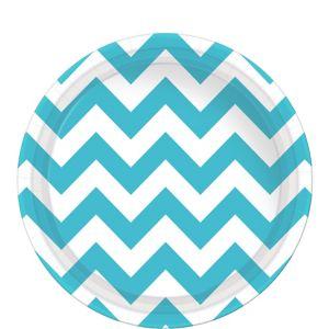 Caribbean Blue Chevron Paper Lunch Plates 8ct