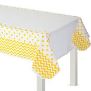 Sunshine Yellow Polka Dot & Chevron Plastic Table Cover