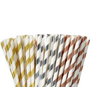 Metallic Striped Paper Straws 80ct