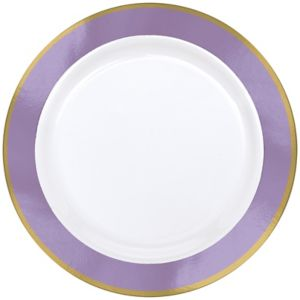 Gold & Lavender Border Premium Plastic Dinner Plates 10ct