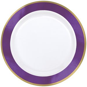 Gold & Purple Border Premium Plastic Dinner Plates 10ct