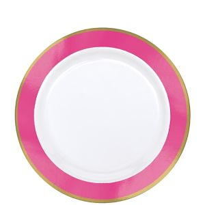 Gold & Bright Pink Border Premium Plastic Lunch Plates 10ct