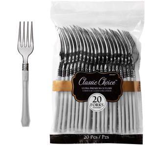 Classic Silver & Silver Premium Plastic Forks 20ct