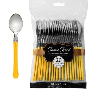Classic Silver & Sunshine Yellow Premium Plastic Spoons 20ct