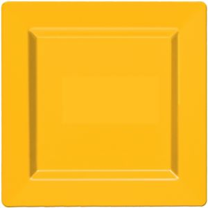 Sunshine Yellow Premium Plastic Square Dinner Plates 10ct