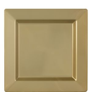 Gold Premium Plastic Square Lunch Plates 10ct
