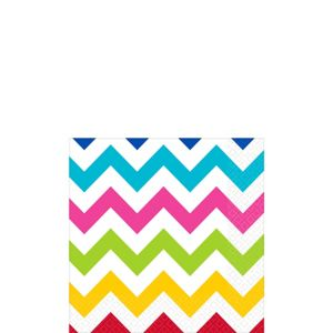 Bright Rainbow Chevron Beverage Napkins 16ct