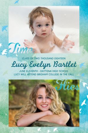Custom Watercolor Birds Time Flies Graduation Photo Announcement