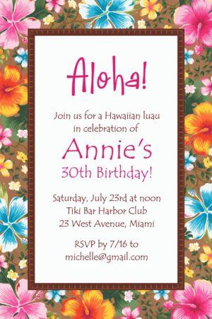 Custom Hawaiian Hibiscus Invitation