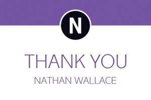 Custom Purple Block Initial Graduation Thank You Note