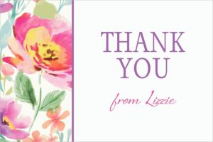 Custom Watercolor Poppy Thank You Note
