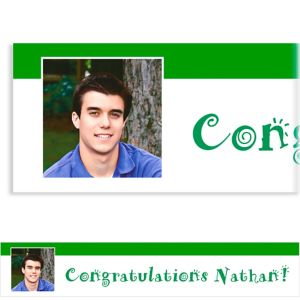 Custom Green Block Initial Graduation Photo Banner