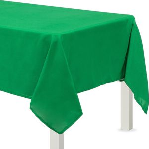 Festive Green Fabric Tablecloth