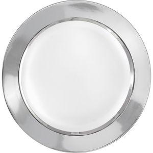 Silver Border Premium Plastic Dinner Plates 10ct