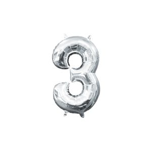 Air-Filled Silver Number 3 Balloon