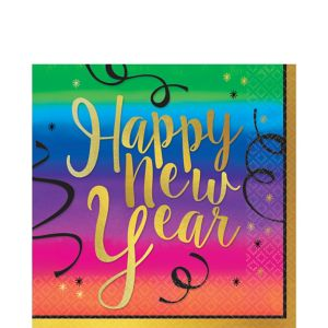 Colorful New Year's Lunch Napkins 36ct