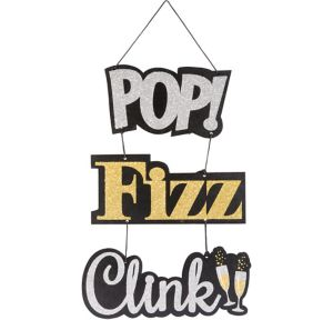 Glitter Pop Fizz Clink Stacked Sign