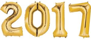 Gold 2017 Number Balloons 4pc