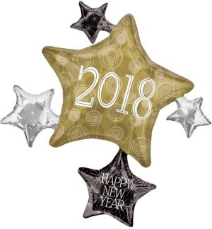 Black, Gold & Silver 2017 Star Balloon Cluster - Giant