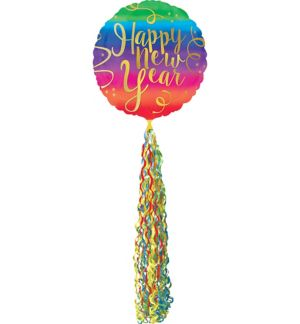 Colorful New Year's Balloon with Tail - Giant