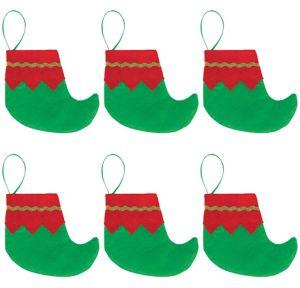 Mini Elf Shoe Christmas Stockings 6ct