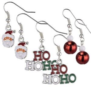 Ho Ho Ho & Santa Christmas Earrings Set 6pc