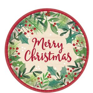 Holly Merry Christmas Dessert Plates 8ct
