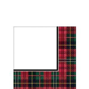 Holiday Plaid Beverage Napkins 125ct