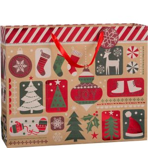 Large Festive Fun Christmas Kraft Gift Bag
